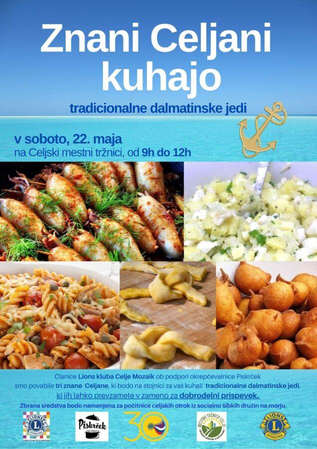 Plakat z vabilom na dogodek Znani Celjani kuhajo ter slike dalmatinskih jedi
